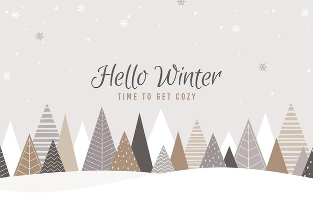 Platte winter achtergrond Premium Vector