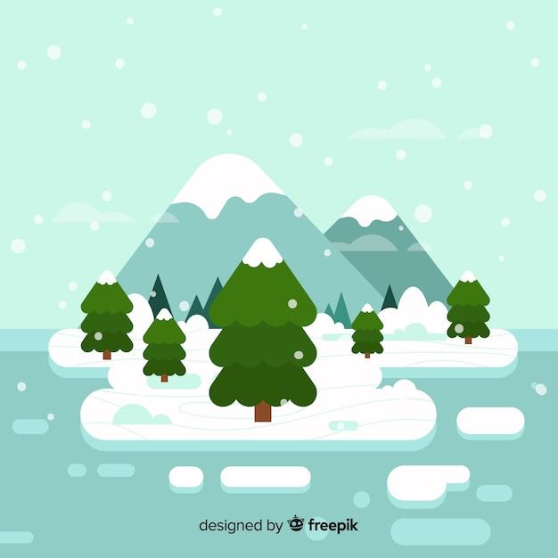 Platte winter landschap achtergrond Gratis Vector