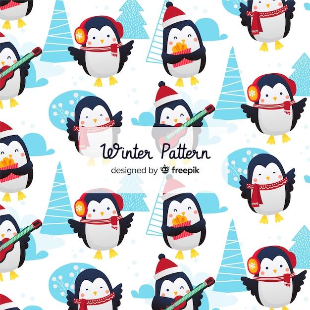 Platte winter patroon collectie Gratis Vector