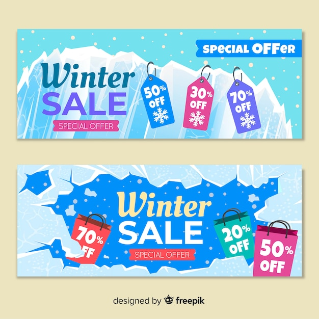 Platte winter verkoop banners Gratis Vector