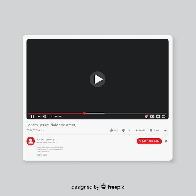 Platte youtube-mediaspeler-sjabloon Gratis Vector