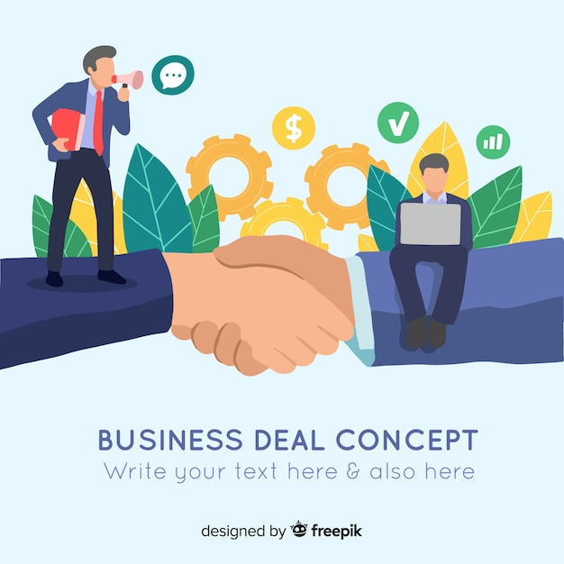 Platte zakelijke deal concept Gratis Vector