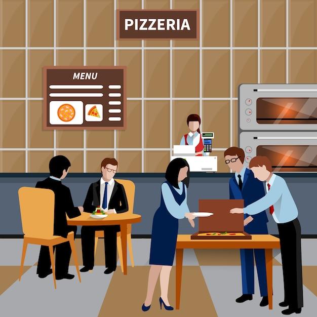 Platte zakelijke lunch mensen samenstelling Gratis Vector