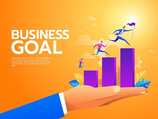 Platte zakenmensen klimmen de trap op. carrièreladder met karakters Premium Vector