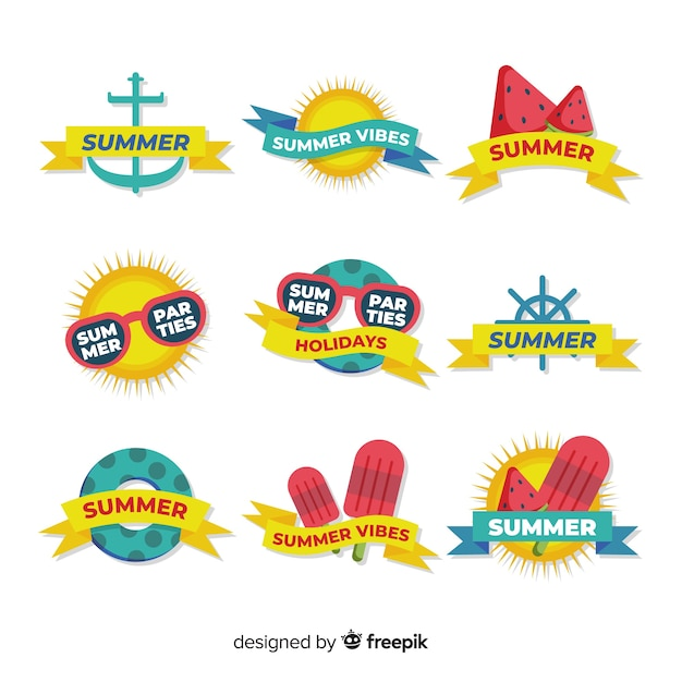 Platte zomer badge collectie Gratis Vector