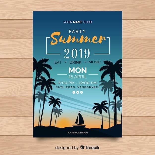 Platte zomer partij poster sjabloon Gratis Vector