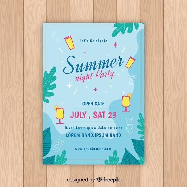 Platte zomerfeest poster Gratis Vector