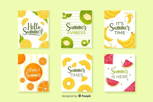 Platte zomerkaarten Gratis Vector