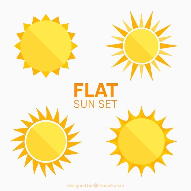 Platte zonnen set Premium Vector
