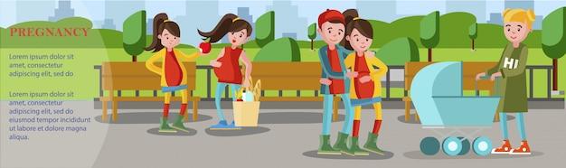 Platte zwangerschap banner met zwangere vrouwen praten over een gezonde levensstijl en ontmoeting van toekomstige ouders met vrouw kinderwagen duwen in park Gratis Vector