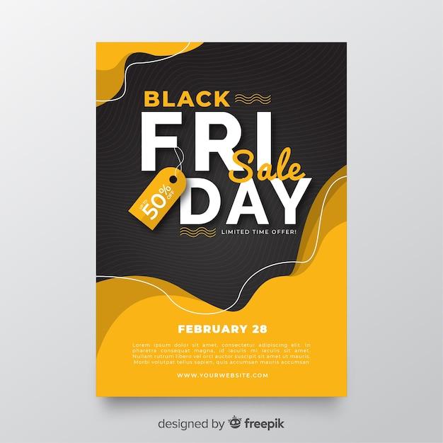 Platte zwarte flyer voor vrijdag Gratis Vector