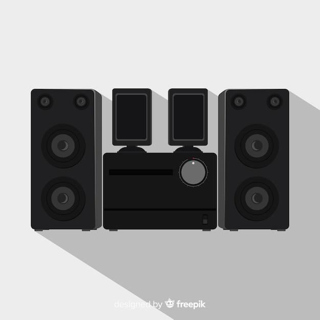 Platte zwarte luidspreker achtergrond Gratis Vector