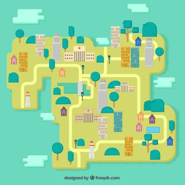 Plattegrond van de stad in flat ontwerp vector gratis for Ontwerp plattegrond