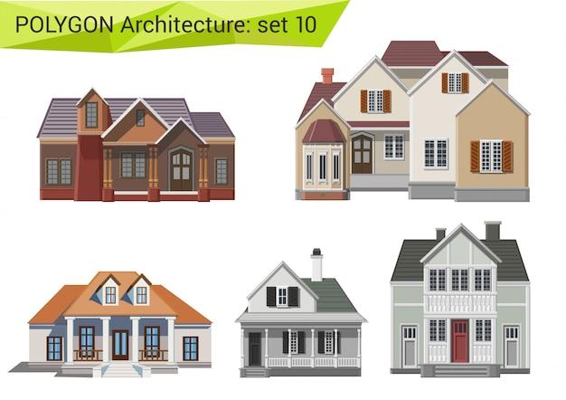 Platteland en voorstad huizen en gebouwen veelhoekige stijlenset. Gratis Vector