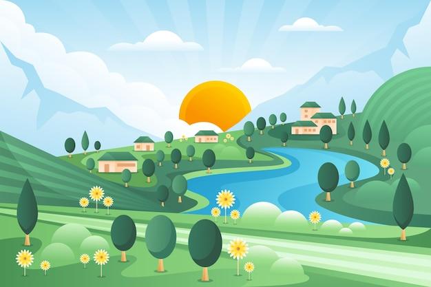 Platteland landschap illustratie Gratis Vector