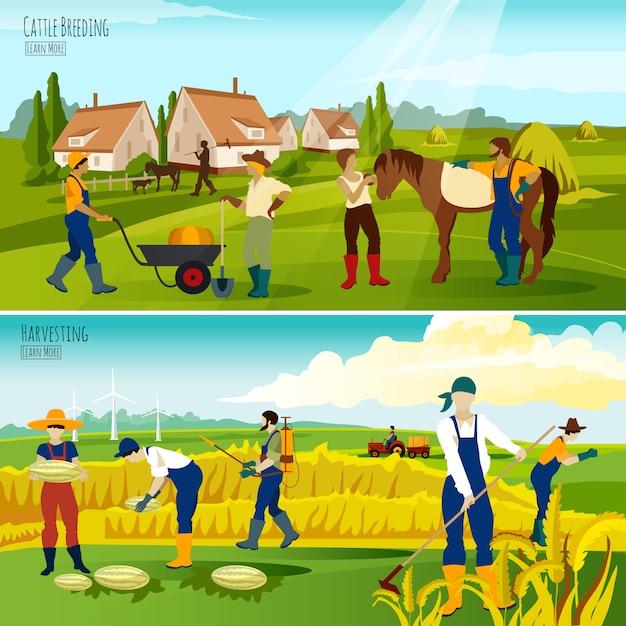 Plattelands landbouw platte banners samenstelling Gratis Vector