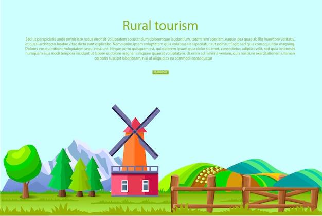 Plattelands toerisme promotie poster met grote molen Premium Vector