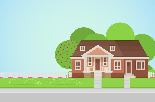 Plattelandshuis met achtertuin op gazon concept architectuurelementen bouw je wereldcollectie Gratis Vector