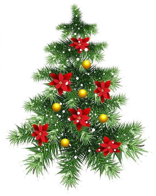 Pluizige groene kerstboom met ornamenten Premium Vector