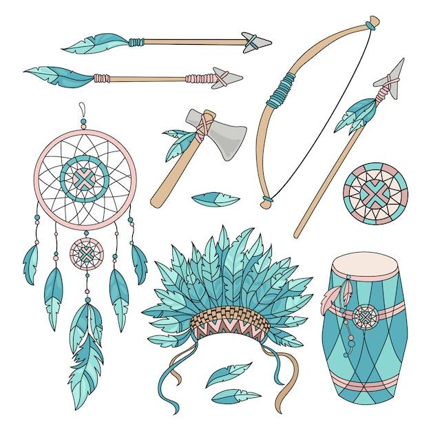 Pocahontas goederen amerikaanse indianen Premium Vector