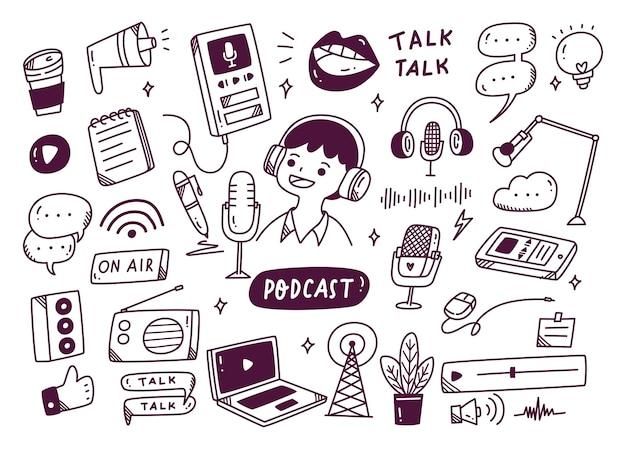 Podcast-apparatuur in doodle stijl illustratie Premium Vector