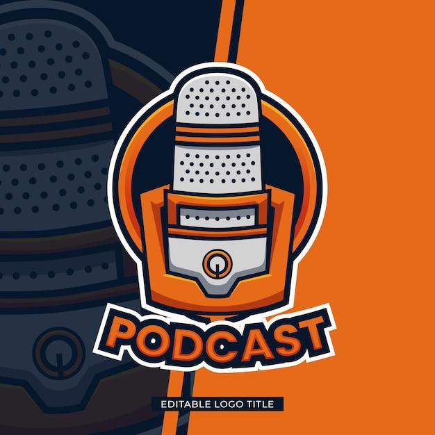 Podcast logo sjabloonontwerp met bewerkbare tekst Premium Vector