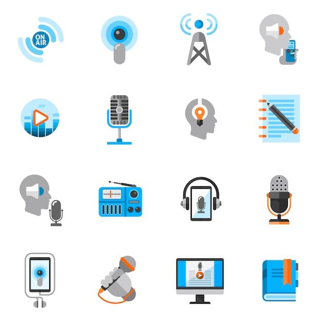 Podcast pictogrammen vlakke set Premium Vector