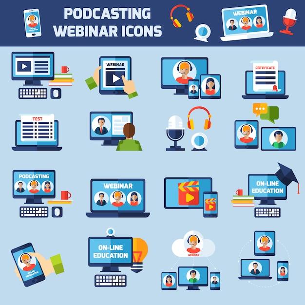 Podcasting en webinar pictogrammen instellen Gratis Vector