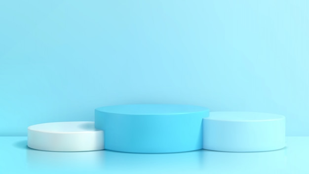 Podium in abstracte blauwe 3d samenstelling ,. Premium Vector