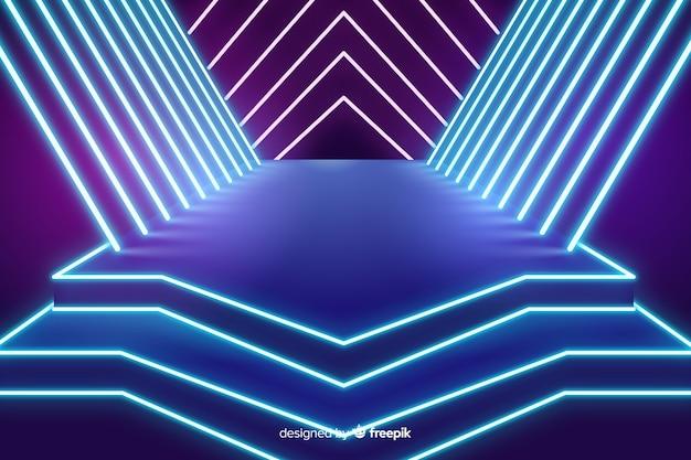 Podium lichten neon achtergrond Gratis Vector