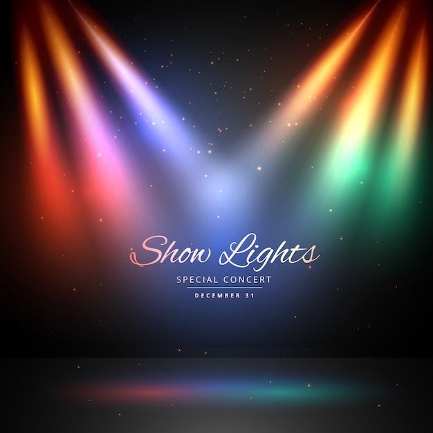 Podium met kleurrijke verlichting achtergrond Gratis Vector