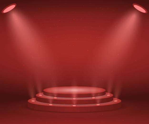 Podium met verlichting voor prijsuitreiking. verlicht rond podium. voetstuk. Premium Vector