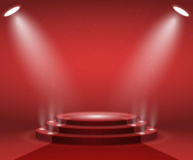 Podium met verlichting voor prijsuitreiking. verlichte ronde podium met rode loper. voetstuk. Premium Vector