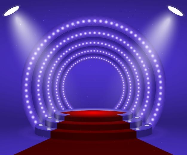 Podium met verlichting voor prijsuitreiking. Premium Vector