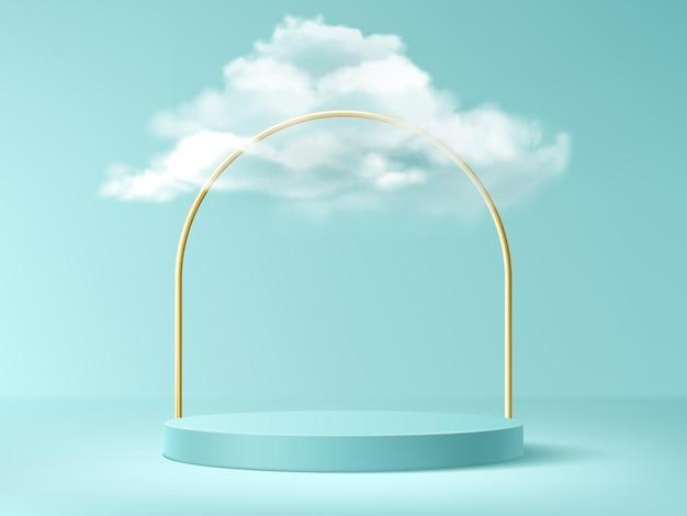 Podium met wolken en gouden boog, abstracte achtergrond met lege cilindrische fase voor prijsuitreiking Gratis Vector