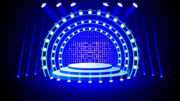 Podium podium met verlichting Premium Vector