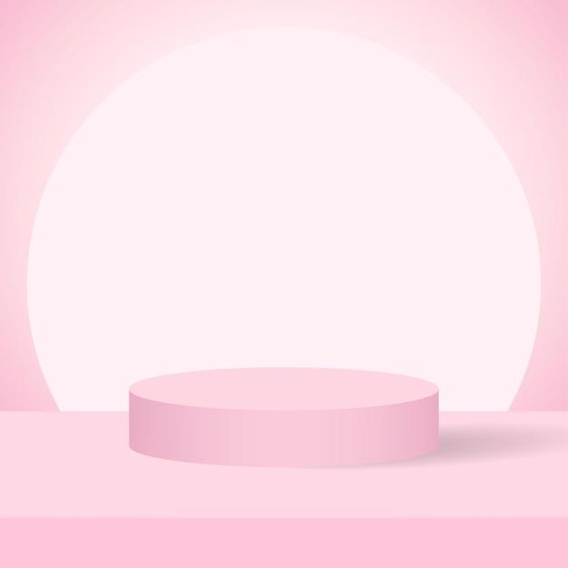 Podium product roze achtergrond Premium Vector