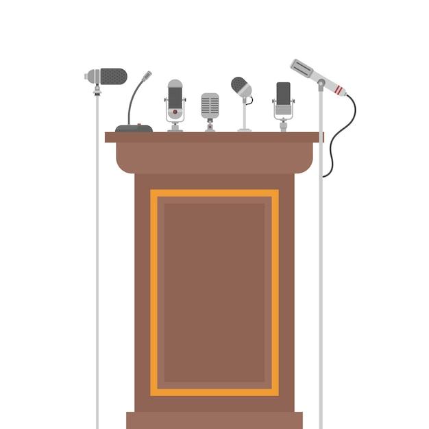 Podiumtribune voor sprekers met microfoons Premium Vector