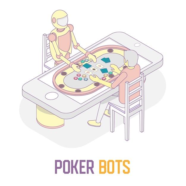 Poker bots concept vector isometrische illustratie Premium Vector