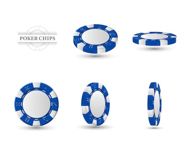 Pokerchips in verschillende posities. Premium Vector