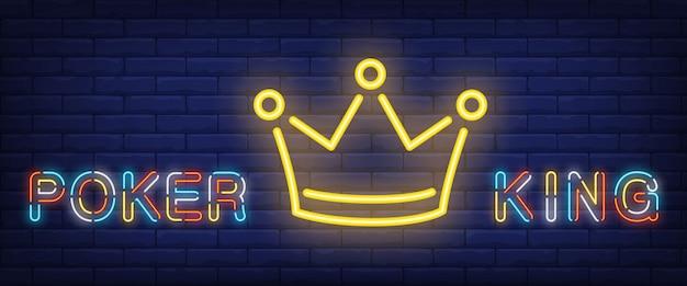 Pokerkoning neontekst met kroon Gratis Vector