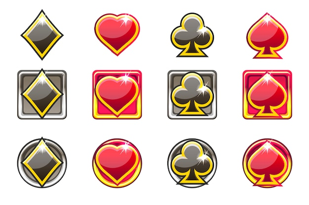 Pokersymbolen van speelkaarten in rood en zwart, app-pictogrammen voor ui Premium Vector