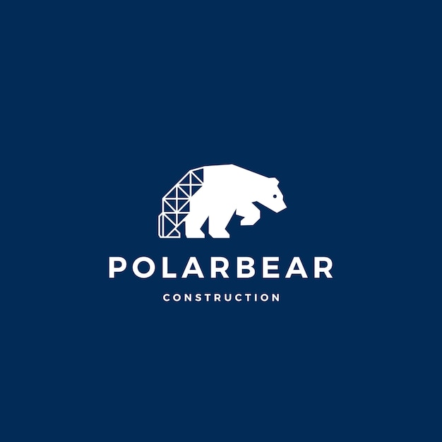 Polar bear bouw logo vector pictogram illustratie Premium Vector