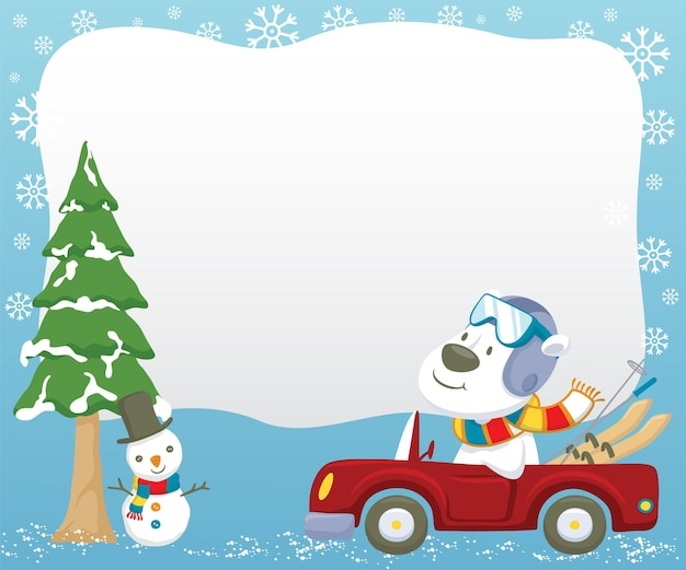Polar bear cartoon rijdende auto tijdens het dragen van ski-uitrusting in de winter Premium Vector
