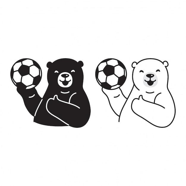 Polar bear voetbal cartoon Premium Vector