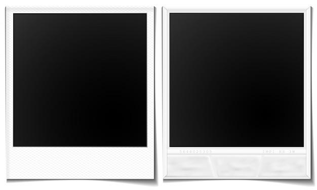 Polaroid-afbeeldingen voor- en achterkant Premium Vector