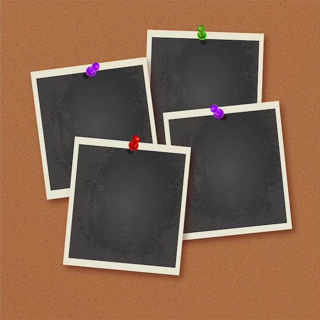 Polaroid fotolijsten vastgemaakt aan de muur Gratis Vector