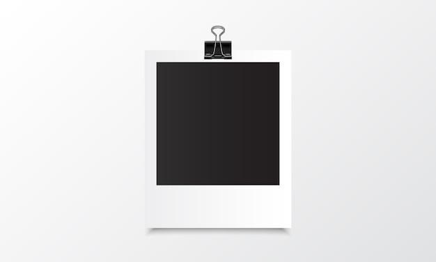 Polaroid fotorealistische mockup met bindrug Premium Vector
