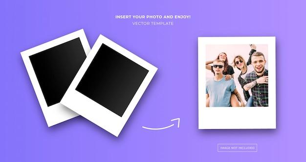 Polaroid instant foto sjabloon Gratis Vector