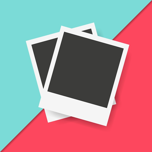 Polaroid-kaders op kleurrijke achtergrond Gratis Vector